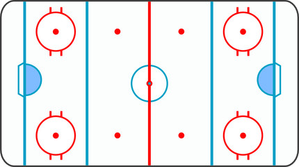 ice hockey ground with all lines on white background