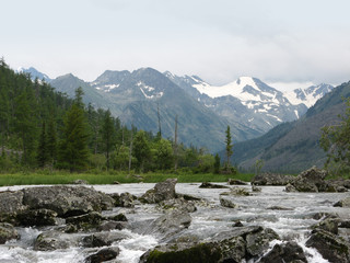Altai Mountains. Waterfall Noises and glaciers. Multinsky Lake