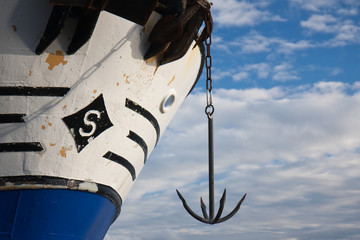 Bow of ship with an anchor