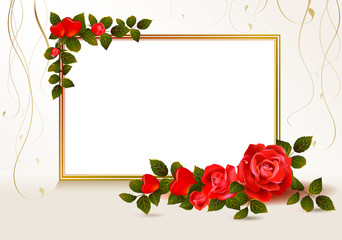 beige background with hearts and red roses