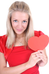 happy woman with red heart card