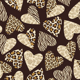 Seamless background with hearts with animal skin pattern.