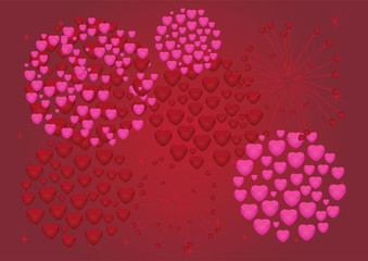 vector red and pink heart fireworks