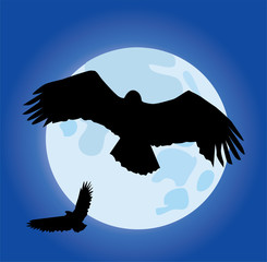 vector eagles and moon background