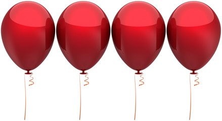 Red Party balloons arranged in a row. Modern decoration