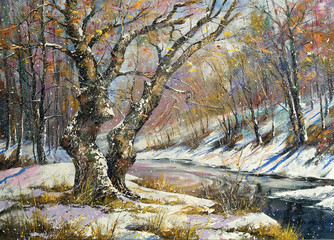 Winter landscape with wood and the river