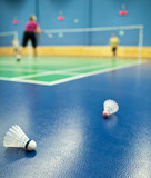 badminton - badminton courts with players competing; shuttlecock poster