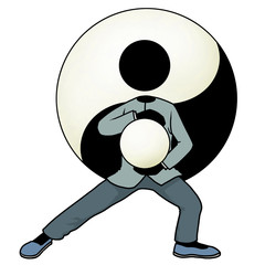 Silhouette-man kungfu action icon - tai chi