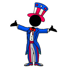 Silhouette-man cosplay - uncle sam