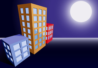 City buildings in moonlight