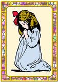 Girl praying devotion faith god worship christian poster