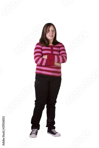 Teenager standing in a white background