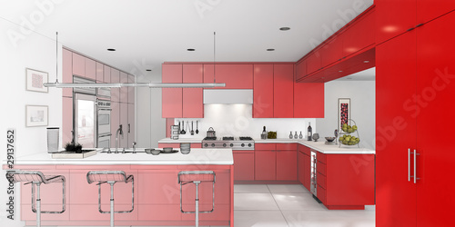 Kitchen in Red (3d)