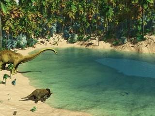 Dinosaurier an der Wasserstelle