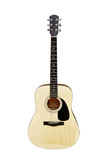 An acoustic steel string guitar on white background. poster