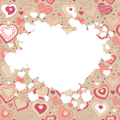 Valentine white frame with different red hearts