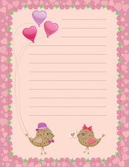 Valentine's day birds sharing presents notepad