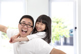 Happy father and daughter.Asian family lifestyle poster