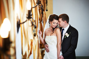 Elegant bride and groom in wedding day