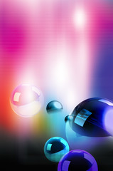Abstract illustration of spheres on colorful background