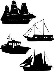 sailing ship silhouettes - vector