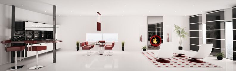 Apartment interior panorama 3d render