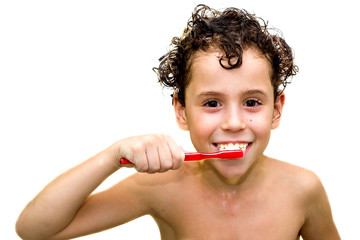 boy with toothbrush (isolted)