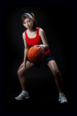 Asian woman playing basketball