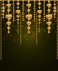 Beautiful background with a gold beads and hearts