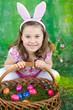 Leinwanddruck Bild - Mädchen als Osterhase