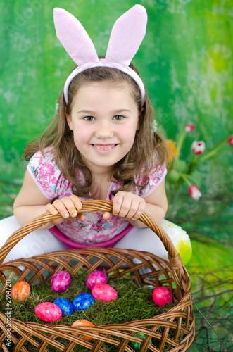 Leinwanddruck Bild Mädchen als Osterhase