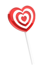 Heart shaped lollipop isolated on white