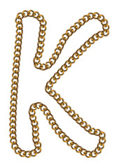 Like Golden Chain Isolated Alphabet Letter K