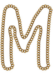 Like Golden Chain Isolated Alphabet Letter M