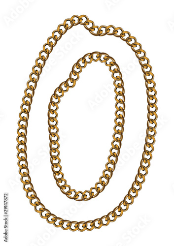 Like Golden Chain Isolated Alphabet Letter O
