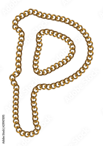 Like Golden Chain Isolated Alphabet Letter P