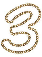 Like Golden Chain Isolated Alphabet Number Three