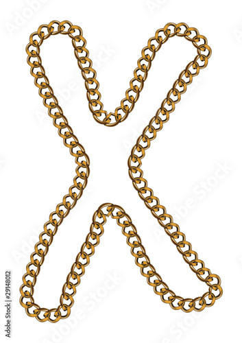 Like Golden Chain Isolated Alphabet Letter X