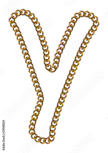 Like Golden Chain Isolated Alphabet Letter Y