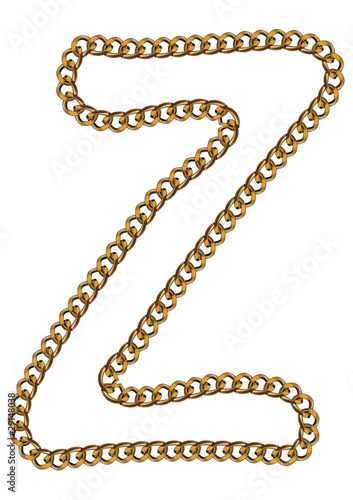 Like Golden Chain Isolated Alphabet Letter Z