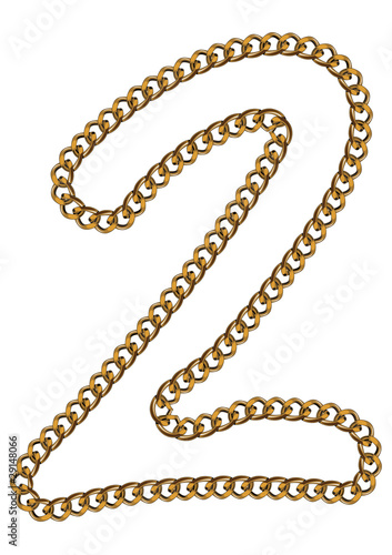Like Golden Chain Isolated Alphabet Number Two