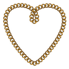 Like Golden Chain Isolated Alphabet Symbol Heart
