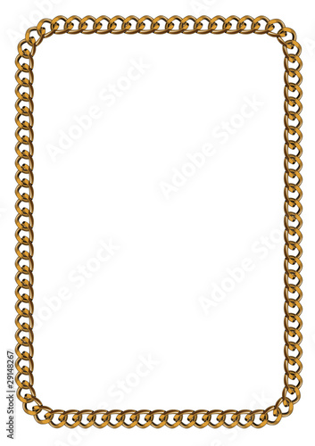 Like Golden Chain Isolated Alphabet Rectangular Frame