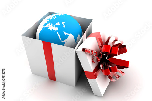Open gift with earth