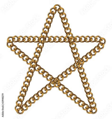 Like Golden Chain Isolated Alphabet Symbol Star