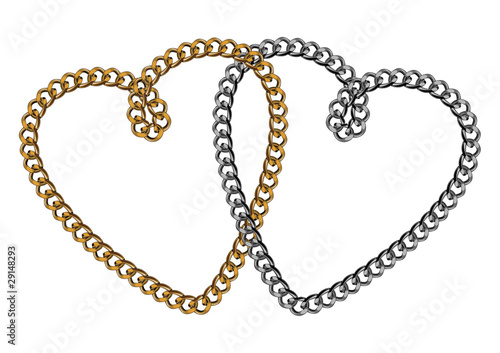 Like Golden Chain Isolated Alphabet  Symbol Two Hearts