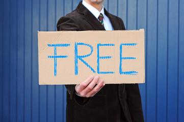 """Pappschild """"Free"""""""