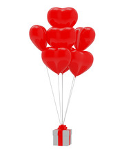 Heart shape baloon and gift
