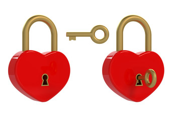 Heart padlock and key