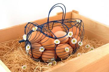 Osterhenne in Kiste